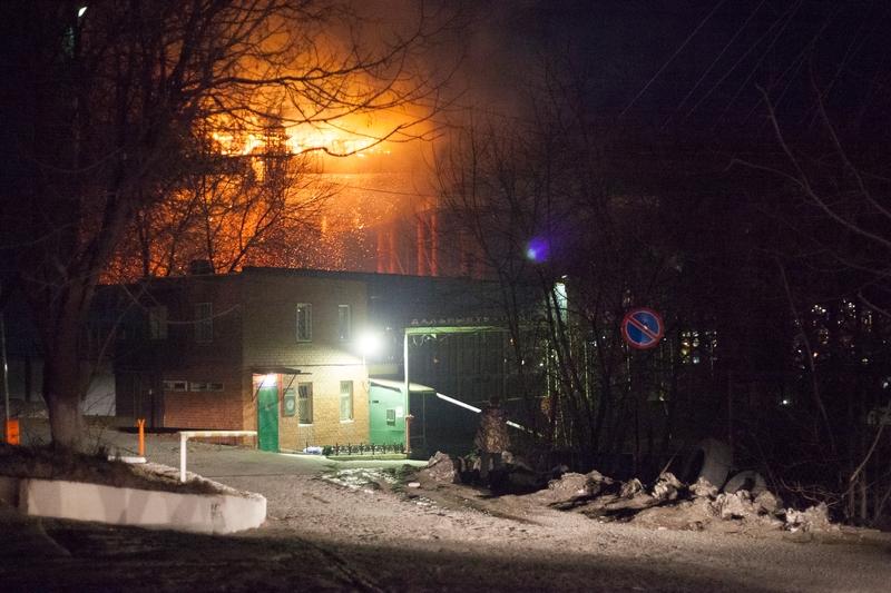 Пожар на стройке моста через Золотой Рог